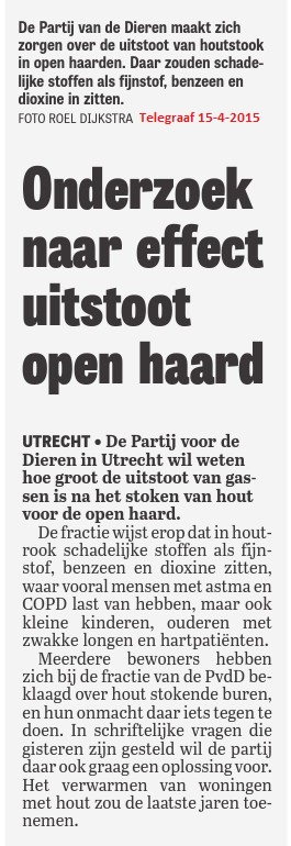 Telegraaf 15-4-2015 SV houtstook