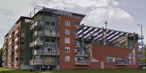 flatgebouw tuinhaard